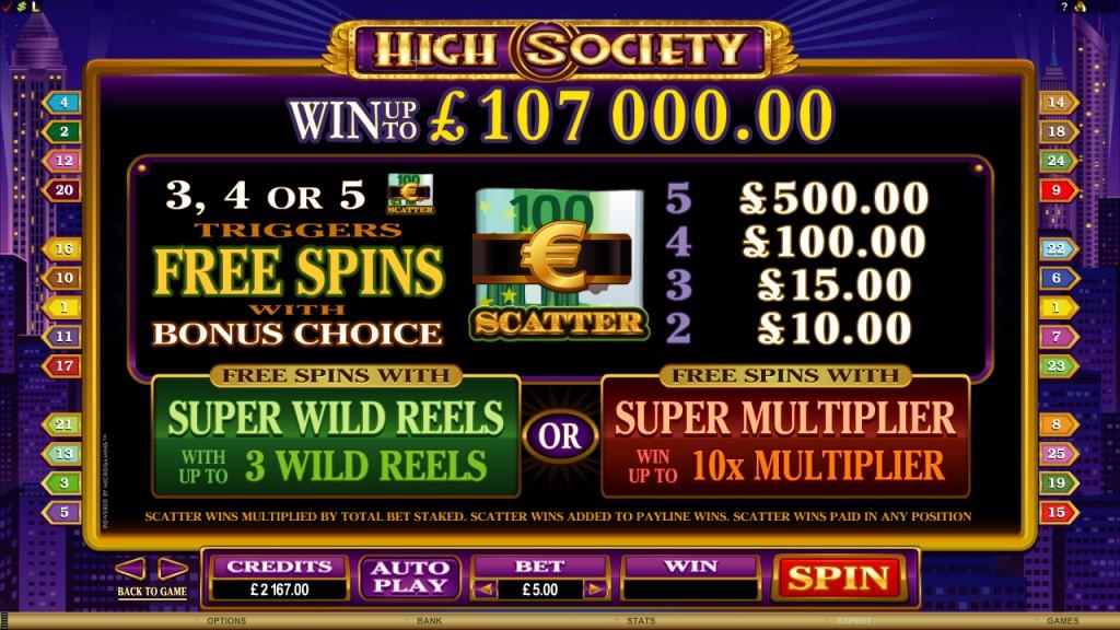 high society slot paytable