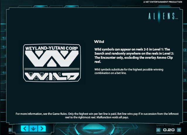 aliens slot paytable