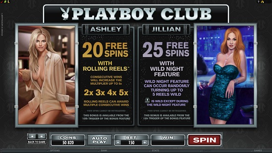 playboy slot free spins