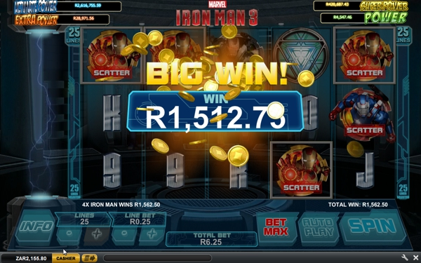 iron man 3 slot big win