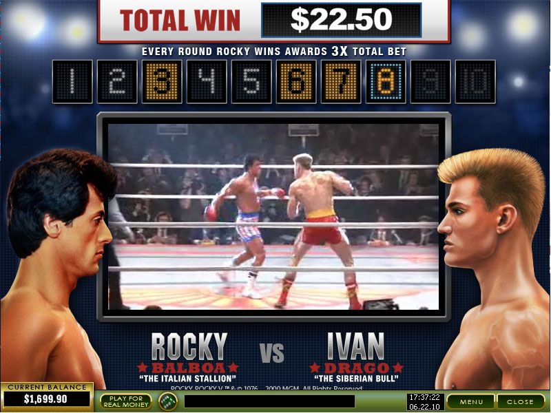 rocky slot bonus game round