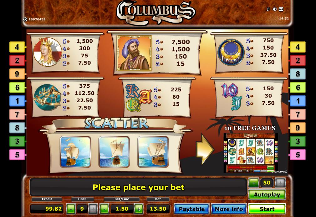 columbus paytable
