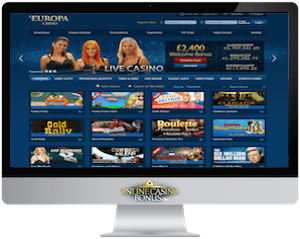europa casino homepage in an imac