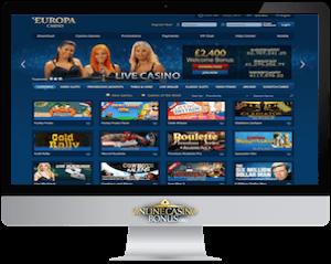 europa casino homepage in an imac